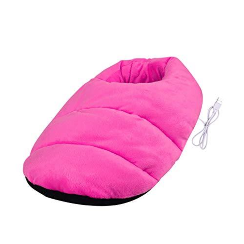 Luccase Elektronische Fußwärmer 38x30cm Flusen Warme Füße Schatz Heizung Schuhe Plüsch Fußwärmer mit USB-Schnittstelle Design für Schlafzimmer Büro und Zuhause (Pink)