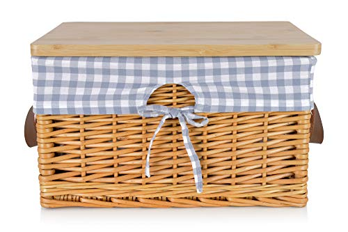 Extra Large Bread Box for Kitchen Countertop - Farmhouse Bread Box with Cutting Board and Cotton Liners. This Rustic Bread Box and Wicker Bread Bin is Ideal Bread Storage Container for Homemade Bread