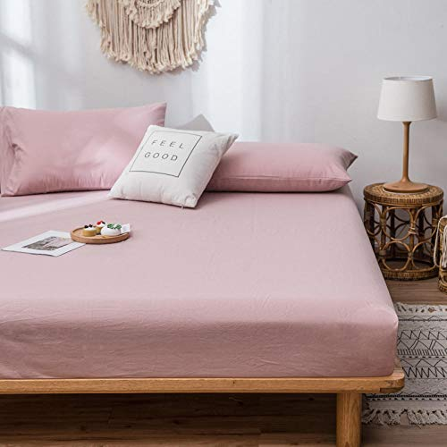 Luxurious No-Iron Bottom to Fit Snugly Around Your Mattress,Solid Color Cotton Bedding Fitted Sheets, Non-Slip Mattress Protector For Bedroom Apartment-Pink_1_120x200cm