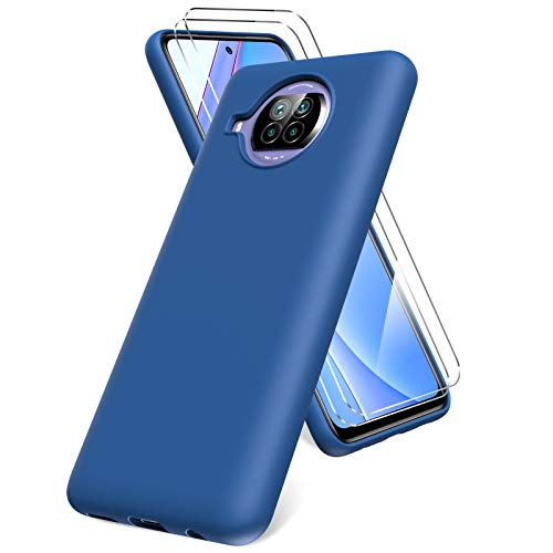Oududianzi Funda para Xiaomi Mi 10T Lite 5G, Protector Pantalla Cristal Templado, Carcasa de Silicona Líquida Gel Ultra Suave Funda con tapete de Microfibra Anti-Rasguño - Azul