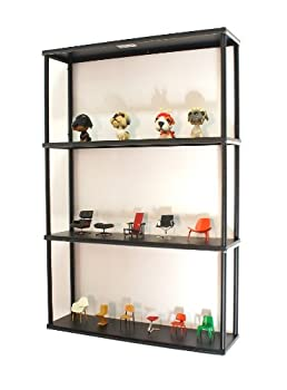 Mango Steam Wall-Mounted Steel Shelving Unit - 36 H X 24 W X 6 D Inches - Black - for Kitchen Storage or Display Use.