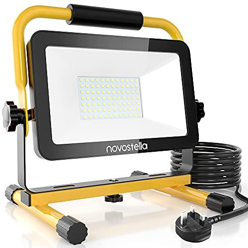 60W LED Work Light 6000lm, Novostella Upgraded Model Job Site Lights, IP65 Waterproof Outdoor Lighting 240V Stand Detachable Floodlight for Home Workshop Garage, 6000K Daylight White 5M Wire with Plug