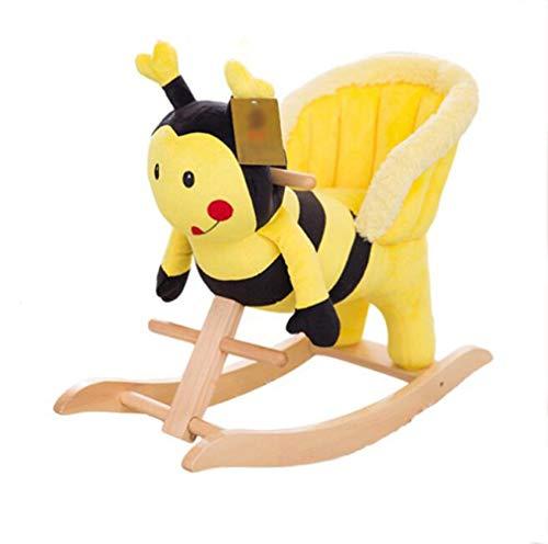 Pequeño caballo de madera del caballo de oscilación Niño 6-48 meses de juguete lindo de la abeja mecedora eje de balancín de madera sólida del rompecabezas de recuerdos del bebé muchacho del niño Los