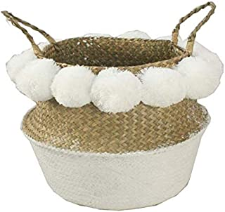 ABAO UNCLE Natural Woven Seagrass Basket - Bestchanceus Pom Pom Seagrass Belly Basket with Handle Collapsible Storage Basket for Laundry, Picnic, Plant Pot 36x32cm White Basket& Pom Poms