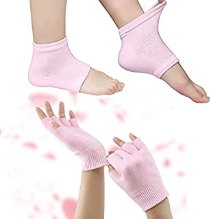 Codream Moisturizing Gel Heel Sleeves and Gloves, Gel SPA Gloves Socks Repair Cracked Skin and Exfoliate Skin,Soften Beauty Hands and Feet for Women