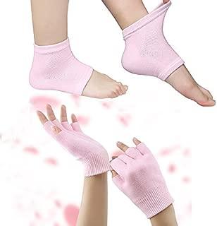 Codream Moisturizing Gel Heel Sleeves and Gloves, Gel SPA Gloves Socks Repair Cracked Skin and Exfoliate Skin,Soften Beauty Hands and Feet for Women