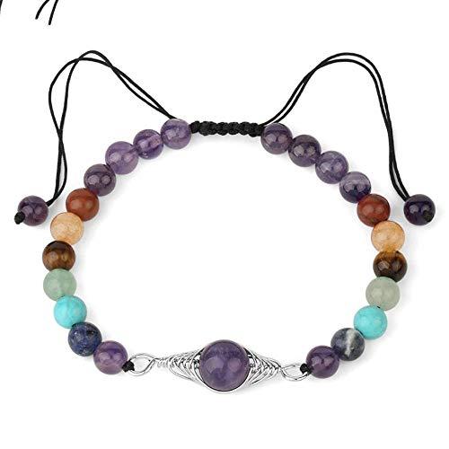 SFAREK Stone Bracelets for Women,7 Chakra Natural Amethyst Adjustable Bracelet 6Mm Beads Celtic Knot Bangle Charms Good Luck Yoga Zen Gift for Couples Unisex Mothers