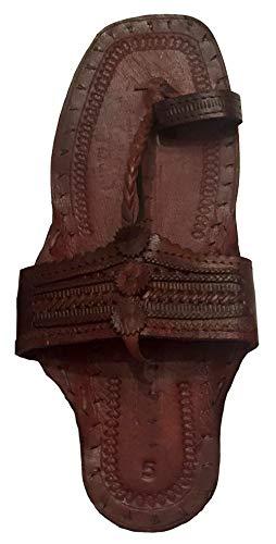 Beadscape ~ A Bit of Deja Vu Hippie Indian Water Buffalo Jesus Sandals 100% Leather (Dark Brown, Men's Size 6 / Women's Size 8)