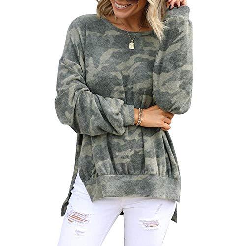 Zerotwo Oberteile Damen Sweatshirt Herbst Tarnmuster Rundhals-Ausschnitt Oberteil Tunika Tops Sportlicher Pullover Langarmshirt Pulli Casual Shirt