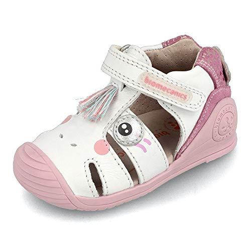 Biomecanics, Sandalia Piel con Velcro Unicornio Blanco y Rosa Color: Blanco Talla: 23