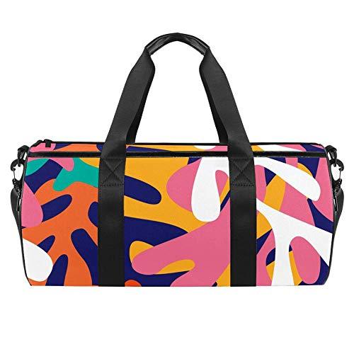 TIZORAX Bunte Matisse Shapes Gym Duffle Bag Drum Tote Fitness Reisetasche Dachgepäckträger Tasche