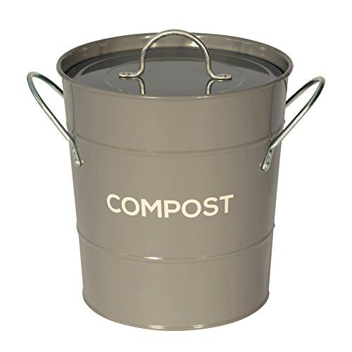 Dunkel Grau Metall Küche Kompost Caddy–Komposteimer für Stachelbeergrün