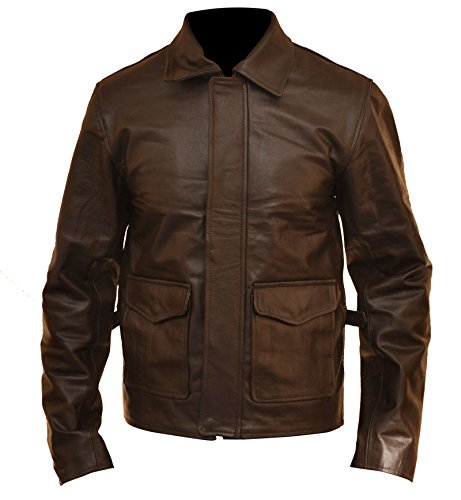 ZFashions Indiana Jones Harrison Ford - Giacca vintage in pelle Marrone XX-Small