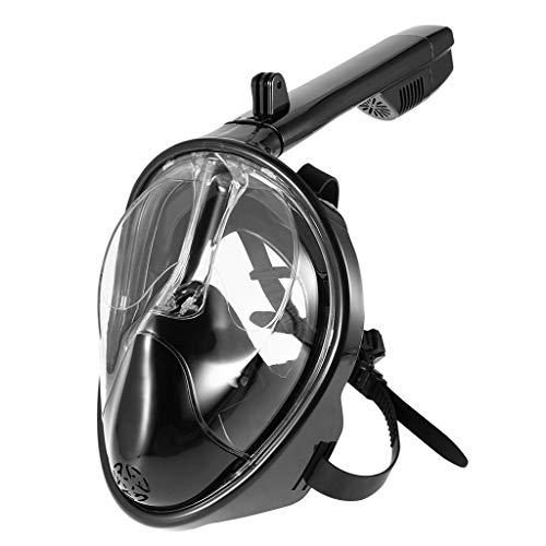 QHJ Schnorchel, Schnorchelmaske für Erwachsene und Kinder mit abnehmbaren Kamera Halterung, 180 Grad große Ansicht trockene Top Set Anti Fog Anti Leak (Schwarz, S/M)