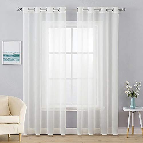 MIULEE 2 Panels Solid Color Ivory Sheer Curtains Elegant Grommet Top Window Voile Panels/Drapes/Treatment for Bedroom Living Room (54X96 Inches)