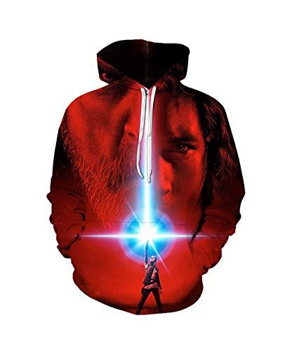 S-T-A-R W-A-R-S Sweatshirt Pullover Hoodie Pullover 3D Druck Unisex Langarm Sport Neuheit Mit Kapuze Mode Weiche Bequeme Männer (Color : A, Size : XX-Large)