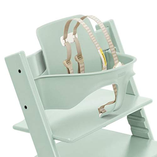 Stokke Adjustable Ergonomic Tripp Trapp Chair Baby Set with Harness (Soft Mint)