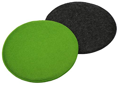 com-four 2x Upholstered seat cushion set, chair cushions for chairs and benches - Round seat cushion cover for dining room, garden, path, balcony - Ø 35 cm (02 pieces - anthracite/green)