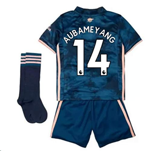 Jertinhf 2020-2021 Kids/Youths Third Soccer Jersey/Short/Socks Colour Navy (Arsenal Aubameyang #14(7-8years/size22))