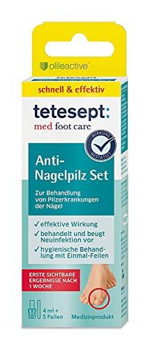 tetesept med foot care Anti-Nagelpilz Set – Zur Behandlung von Pilzerkrankungen der Nägel – schnell einziehende Lösung gegen Nagelpilz inkl. 5 hygienischer Einmal-Feilen – 4 ml