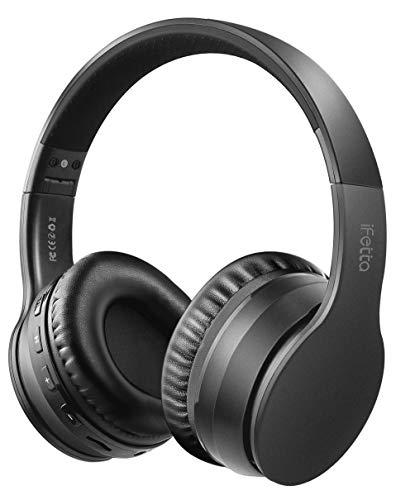 Ifecco Cuffie Bluetooth 5.0 Headphones Wireless Pieghevole - Audio Stereo Hi-fi Microfono Incorporato con Jack Audio da 3.5 mm, Cuffie Stereo Compatibili con IPhone, Samsung, Telefoni e Tablet Android