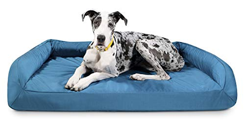 K9 Ballistics Tough Orthopedic XL Extra Large Bolster Dog Bed - Washable, Durable and Waterproof Dog Bed - Made for Big Dogs, 38'x54', Blue