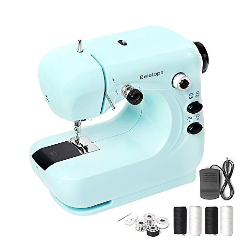 Mini Sewing Machine, Beletops Portable Sewing Machine Lightweight Sewing Machine with Foot Pedal, Double Thread, LED Light, Perfect for All Types of Fabric for Kids, Beginners, Household, Girls (Blue)