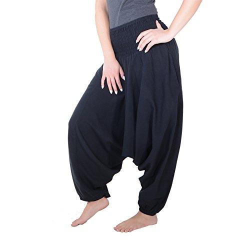 KUNST UND MAGIE Unisex Orientalische Haremshose Pluderhose Pumphose, Farbe:Black/Schwarz