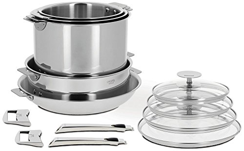 Cristel Casteline 18/10 Stainless Steel 13 Piece Cookware Set with Removable Handles