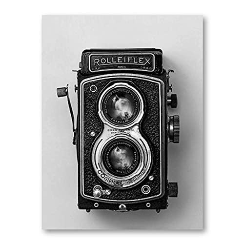 Xiangll Rolleiflex Old Camera Poster Negro Blanco Vintage Cámara Impresión Hipster Regalo Fotografía Arte De La Pared Lienzo Pintura Decoración Retro Impresión En Lienzo-40X60Cm Sin Marco