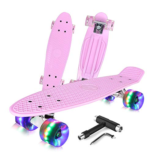 BELEEV Skateboard 22 inch Complete Mini Cruiser Retro Skateboard for Kids...