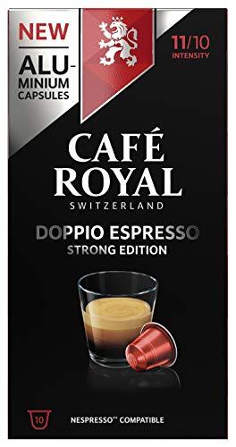 Café Royal Doppio Espresso Strong Edition 10 Nespresso®* kompatible Kapseln (aus Aluminium, Intensität 11/10) (1 x 10 Kaffeekapseln)