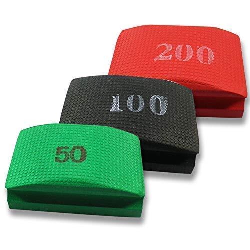 Originele EDW Basis SET | Handschuurpad/schuurspons set | Korrelgroottes 50, 100 & 200 | slijpen, polijsten, ontbramen | Slijpblokken voor tegels, natuursteen, graniet, glas