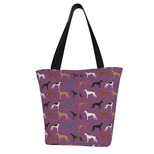 Personalisierte Leinen-Tragetasche, süße Hunderasse, beste Windhunde, niedlicher Rettungshund, waschbare Handtasche, Umhängetasche, Einkaufstasche für Frauen