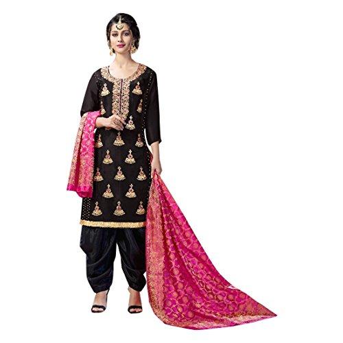 ETHNIC EMPORIUM Black Seide Indische Bollywood Punjabi Salwar Shalwar Patiyala Patiala Hosen Traditionelle Salwar Kameez Kamiz Frauen Kleid Damen Girl hochzet 2808