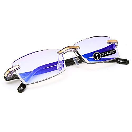 TERAISE Gafas de lectura sin montura Moda Corte de diamante Diseño antifatiga Lente transparente Lectores de anteojos para hombres(2.0X)