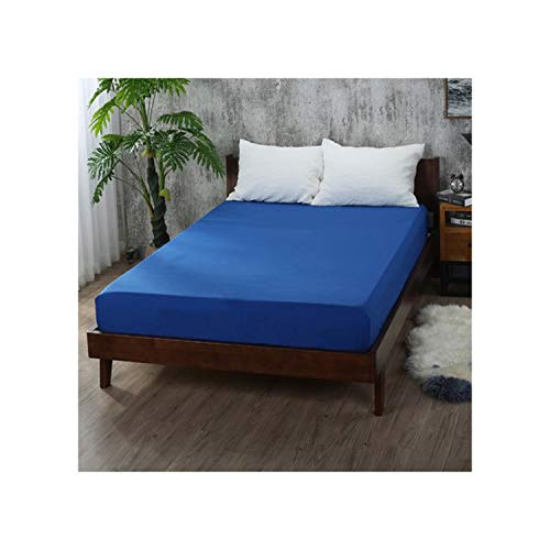 Greenflows 1Pcs Fitted Sheet Bed Sheets with Elastic Band Double Queen Size 160cm200cm Mattress Cover Polyester,Navy Blue,180X200X25cm (Best Memory Foam Mattress Australia)