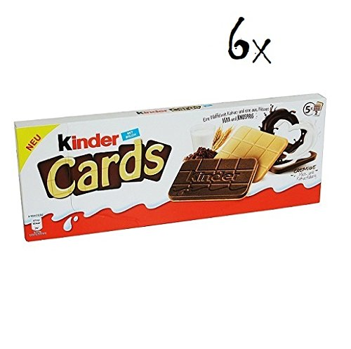 6x Kinder Cards Waffel mit scholokade schoko riegel 5 Stück kekse waffel 128 g