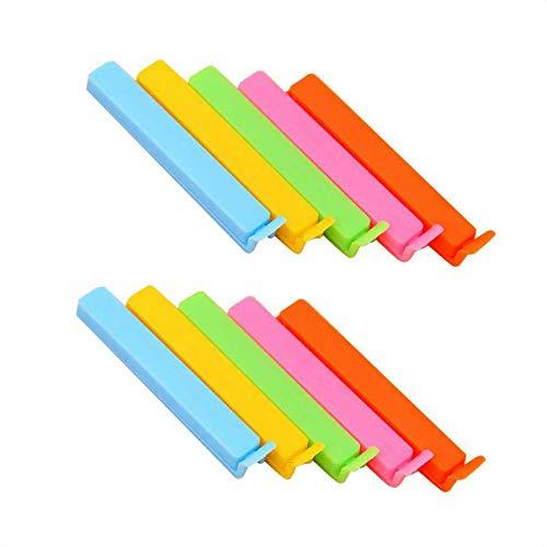 Sunlera Inicio 10PCS Clips de plástico de Colores Brillantes en Color de Comida bolsitas de té de Sellado Abrazaderas Cocina Suministro Color al Azar (Color Random, 11 * 1.5 * 1.3cm)