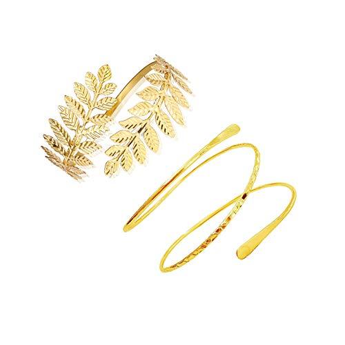 FUTIMELY 2Pieces Leaf Upper Arm Cuff Bangle Armband Bracelets for Women Teen Girls Punk Swirl Coil Armlets Bracelets Egyptian Jewelry Set (Gold)