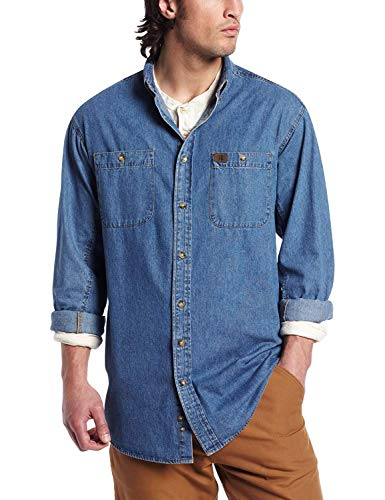 Wrangler Riggs Workwear mens Denim Work Shirt ,Antique Navy ,Medium