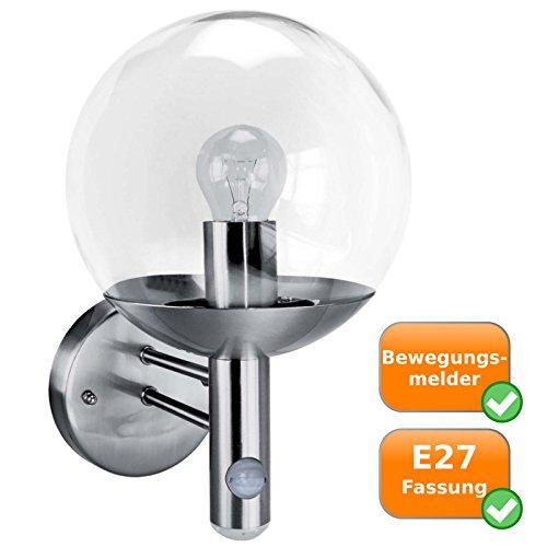 Preisvergleich Produktbild Edelstahl Außenleuchte mit Bewegungsmelder,  Kugelleuchte für Leuchtmittel der Energieklassen A++ - E