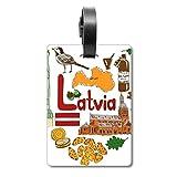 Etiqueta de identificación para Maleta con la Bandera Nacional de Letonia con Texto en inglés Love Heart
