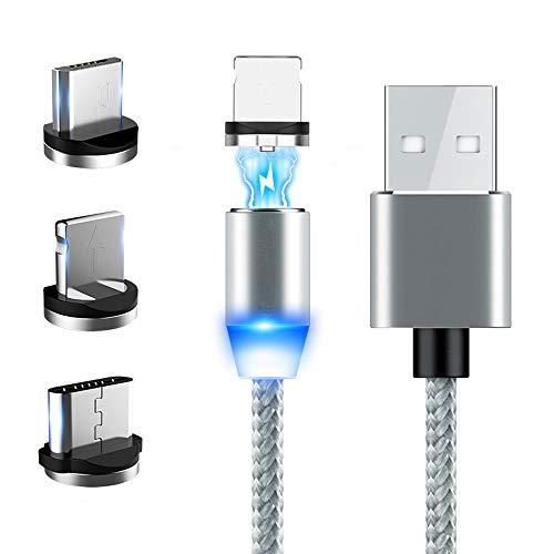 Kshzmoto 2m Nylon Intrecciato Cavo di Ricarica Micro USB Type-C 3 in 1 Cavo Dati Magnetico per Telefono Cellulare Ricaricare a Prova di Polvere Adatto per Android/ios