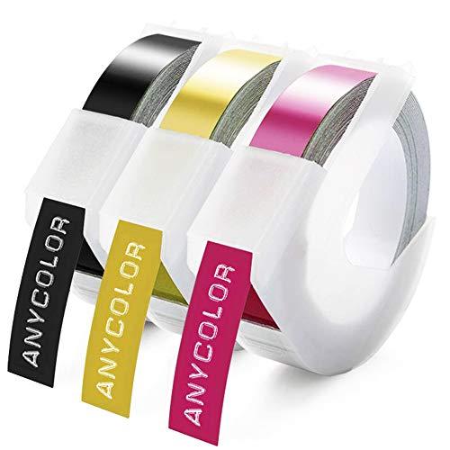 Anycolor kompatible Prägeband als Ersatz für Dymo 3D Prägebändern Vinyl Geprägtes Etikettenband für Dymo Omega Junior Embosser, Old Rotex Embosser, Oldschool Label Maker, Weiß auf Schwarz/Gold/Rosa