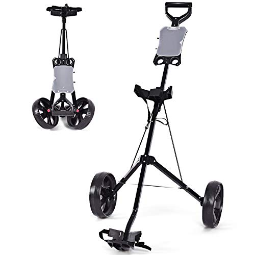 Tangkula Golf Push Cart Foldable 2 Wheels Push Pull Cart Trolley (Large, Without Cup Holder)