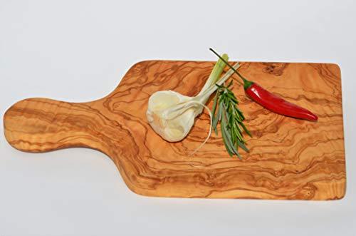 Figura Santa olijfhouten plank, houten plank, snijplank, ontbijtplank van olijfhout. Naturalwood. Massief olijfhout met stevig handvat. Fijn gematteerd olijfhout. 31 x 17 cm.