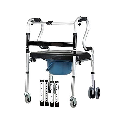Rollatoren Gehbarer Aluminium-Walker mit Kunstledersitzbrett und Bettpfanne, tragendes 180KG, höhenverstellbares Gehgestell