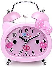 Plumeet Reloj Despertador con Campanas gemelas para Niños Marca Silencioso (sin Tic-TAC) con Tema de Caricatura, operado con baterías