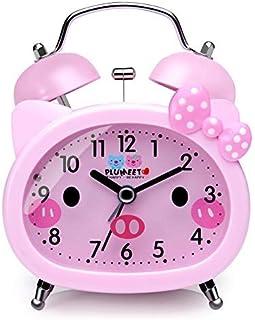 Plumeet tvillingklocka väckarklocka för barn, tyst, icke-tickande kvarts skrivbord sängstuga högt väckarklocka för flicko...